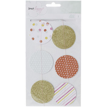 Dear Lizzy Fine & Dandy Garland 2.5 Yards-Circles-Printed & Gold Glitter Cardstock