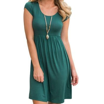 Women Summer Empired Dress 2018 Solid Casual Dress O-Neck Fit and Flare