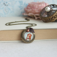 Squirrel, Acorn, Leaf Locket Necklace. Round Locket Jewelry. Daughters Birthday Sis, Rustic, Woodland, Whimsical, Bridesmaids Gift, BFF Gift