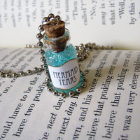 Green Mermaid Tears 1ml Glass Bottle Necklace - Mermaid's Tears Cork Vial Pendant Charm