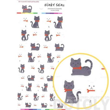 Classic Kitty Cat Shaped Animal Themed Stickers for Scrapbooking and Decorating in Grey and White