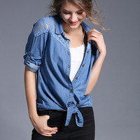 Fashion Turn Down Collar Long Sleeve Lace Splicing Denim Shirt - NOVASHE.com