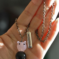 "Pig and ""Count your Blessings"" charm necklace"