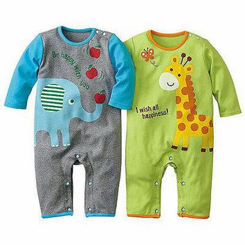 2016 Autumn Baby Newborn Rompers Long Sleeve Cartoon Elephant Giraffe Clothes Boys Cotton Jumpsuit High Quality