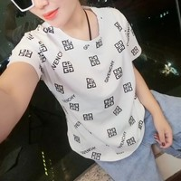 """Givenchy"" Women Fashion Casual Letter Pattern Print Short Sleeve T-shirt Top Tee"