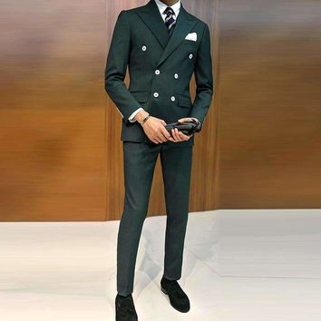 Mens Suit Double-Breasted Suit