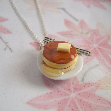 Pancake Necklace, Hot Cake On Ceramic Plate With Silve Fork, Miniature Food Jewelry