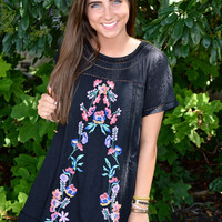 Touch of Floral Dress- Black