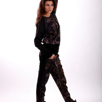 Snake sports set / Tracksuit / Drop crotch pants / Harem trousers / Top / Snake print / Blouse / Set / Sweater / Sport tracksuit / Athletic