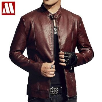 Trendy New 2018 Men's Red Leather Jacket Autumn & Winter Slim Fit Pu Moto Coat With Hair Warm Male Fahion Stand Collar Black Outwear AT_94_13