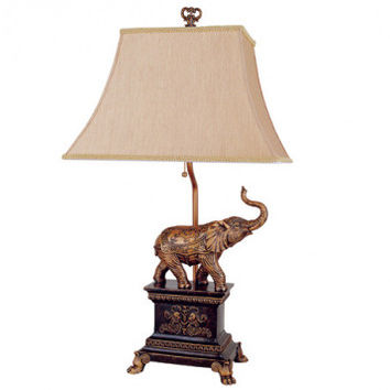 Antique Finished Safari Inspired Table Lamp   Elephant Table Lamp   American Freight