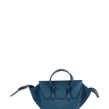 Metallic Blue Leather Tie Knot Tote Bag