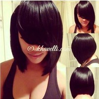 Trendy Inclined Bang Capless Charming Silky Straight Heat Resistant Synthetic Wig For Women