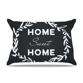 "KESS Original ""Home Sweet Home"" Black White Pillow Case"