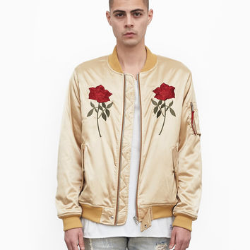 Mirrored Rose Bomber Jacket in Light Gold