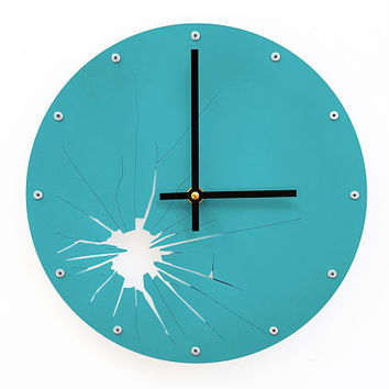 Shattered Metal, Medium, Modern Wall Clock, Colorful, Kitchen, Personalized, Hanging Art, Quartz, Round, Unusual, Broken Glass, Teal
