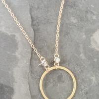 Gold Circle Necklace, Gold Circle Charm Necklace, Circle Necklace, Circle Charm, Gold Circle, Gold Necklace