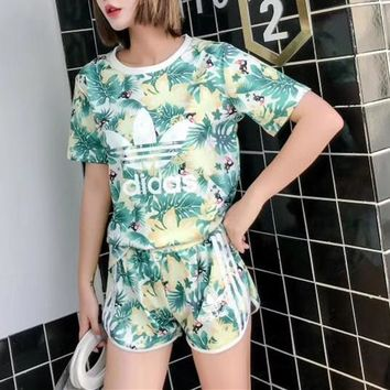 """Adidas"" Women Casual Fashion Temperament Flower Letter Print Short Sleeve Shorts Set Two-Piece Sportswear"