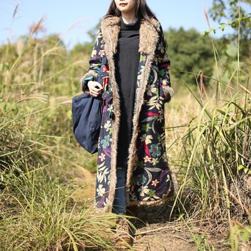 Single Breasted Winter Coat Floral Printing Chinese Style Padded Coat Hooded Women Jacket Cotton Linen Quilted Long Trench Coat