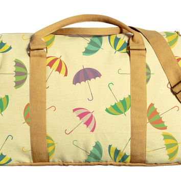 Colorful Umbrela Printed Oversized Canvas Duffle Luggage Travel Bag WAS_42