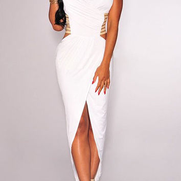 Halter Cut Out Back Sleeveless Maxi Dress