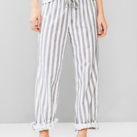 Woven Cotton Roll Up Pants