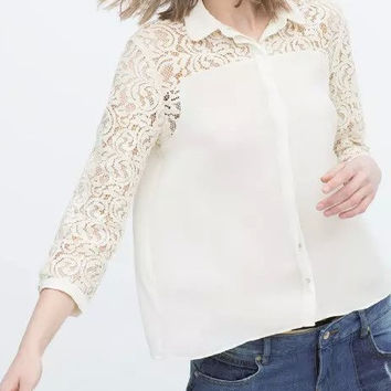 White Cutout Lace Sleeve Collared Chiffon Blouse