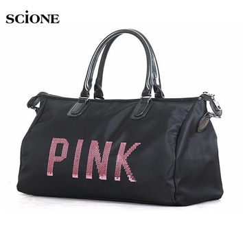 Designer Metal Sequins PINK letters Gym Fitness Sports Bag Shoulder Crossbody Bag Women Tote Handbag Travel Duffle Bolsa XA563YL