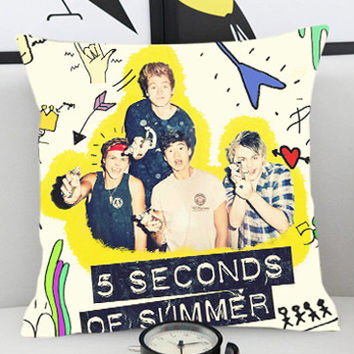 5 SOS Second Of Summer - Pillow Cover by PillowKesetiaan.