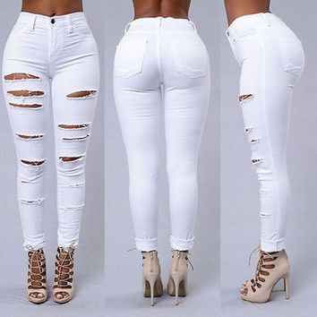 woman jeans brand distressed holes tear slim elastic ripped biker jeans women skinny jeans denim pants
