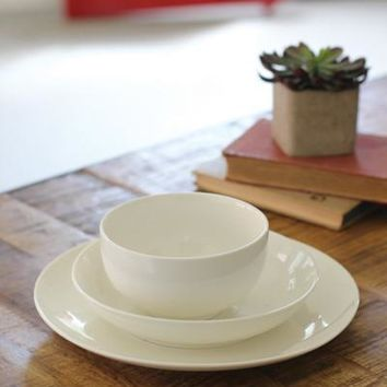 Set of 12 White Ceramic Dinnerware - Bowl Salad Dinner