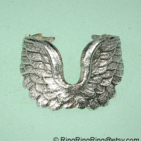 Tiny Angel wing ear cuff earring Slight antiqued by RingRingRing