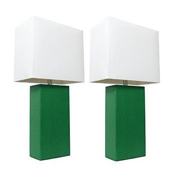 2 Pack Green Nightstand Leather Body Table Lamps Modern 420 Desk Office Bed Room