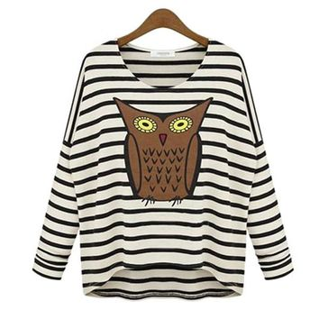 Fashion Owl Print Round Collar Bat wing Long Sleeve Loose Striped Tops