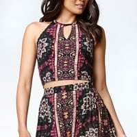 Kendall & Kylie Floral Crochet Trim Halter Tank Top - Womens Shirts - Allover Print