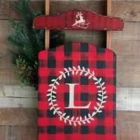Buffalo Plaid Sled Decor,Buffalo Plaid Decor,Buffalo Plaid Holiday,Country Christmas,Winter Decor,Front Porch Decor,Monogrammed Home Decor