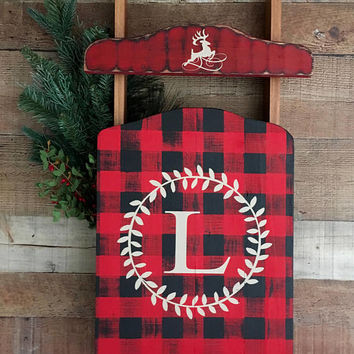 buffalo plaid sled decorbuffalo plaid decorbuffalo plaid holid - Christmas Plaid