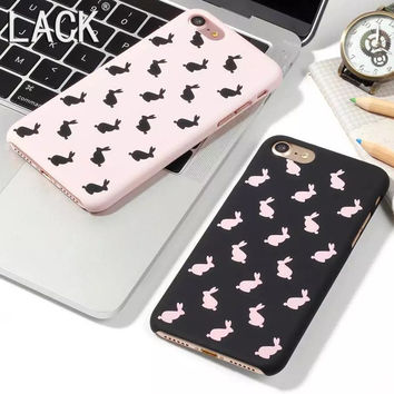 Cute Cartoon Animal Rabbit Case For iphone7 Fashion ultra-thin frosted Phone Cases For iphone 7 6 6S Plus/ 5 5S Back Cover Capa  -0315