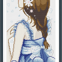 Modern Asian Girl 21785J Modern Cross Stitch Pattern PDF Download - Includes Chart And Instructions