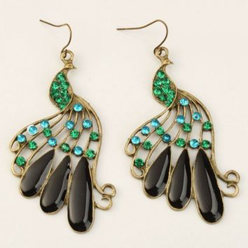 Stylish Peacock Style Rhinestone Dangle Earrings