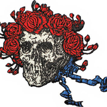 Grateful Dead Iron-On Patch Bertha Skull Roses