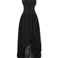 Punk Rave Gothic Steampunk Dress Black Lace Long VTG Victorian Wedding Prom Gown