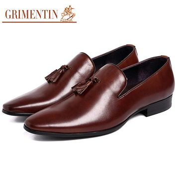 Genuine Leather Men Dress Shoes With Tassel Black Business Wedding Loafers Slip On Shoes Men