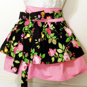 Women's Double Skirt Floral Pink and Black Apron-#68-