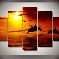 Dolphins In The Sunset 5-Piece Wall Art Canvas