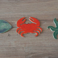 Ceramic Big Mosaic Tiles Fish Crab Starfish Pottery Ocean Art Supplies