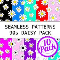 Printable Seamless Patterns - 90s Daisy Pack - Digital Scrapbook Paper