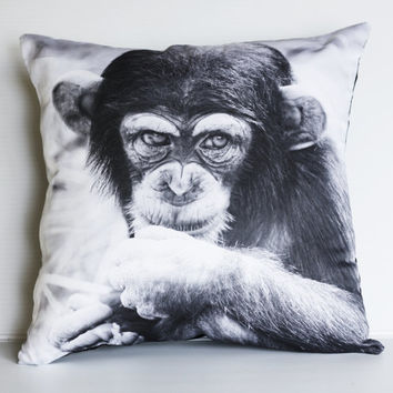 Animal Cushion cover decorative pillow MONKEY CHIMP throw pillow animal cushion,  animal pillow, 16 x16 inch pillow 40cm cushion