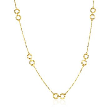 14K Yellow Gold Double Ring and Cable Chain Necklace