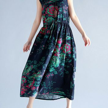 Casual Round Neck Drawstring Printed Flared Maxi Dress